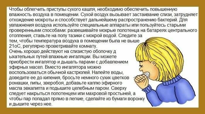 как снять приступ сухого кашля у ребенка ночью