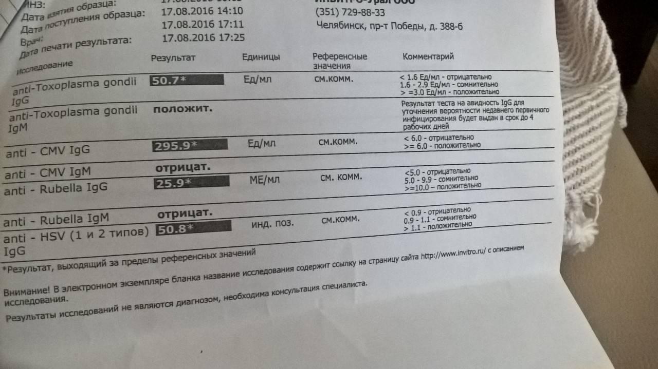 токсоплазмоз показатели нормы