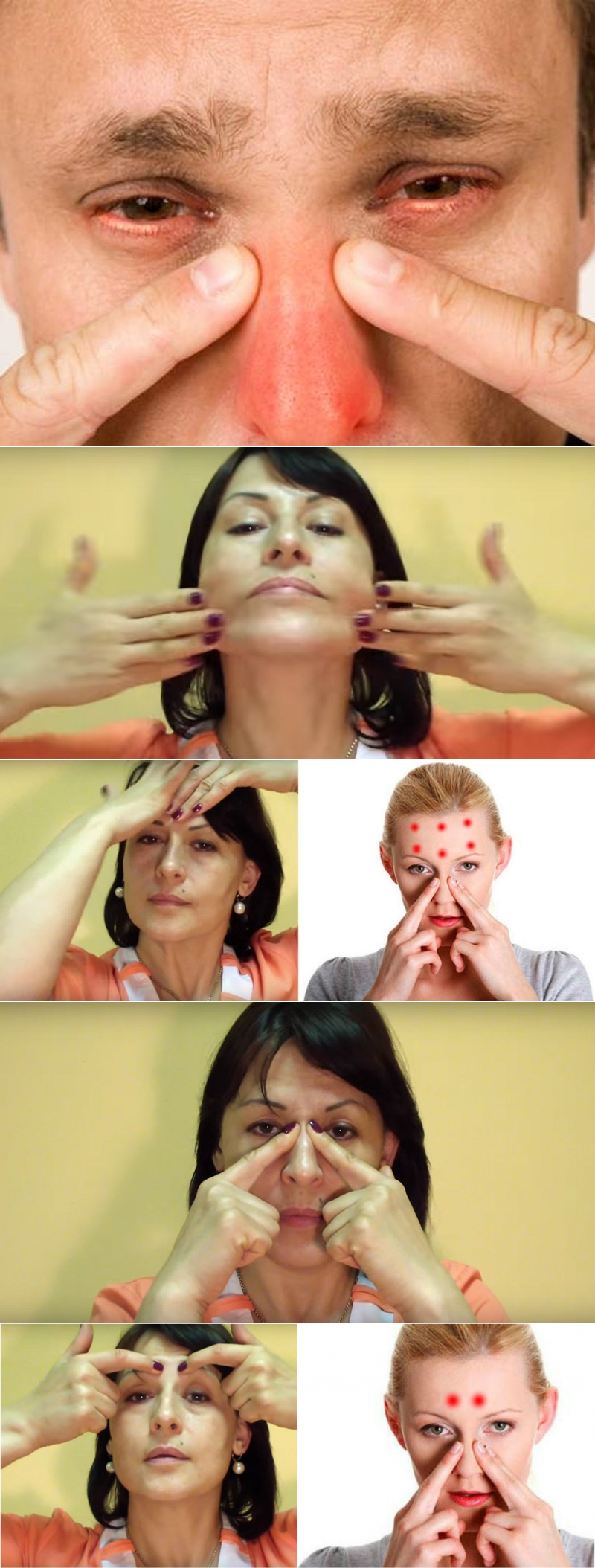 массаж точек при гайморите