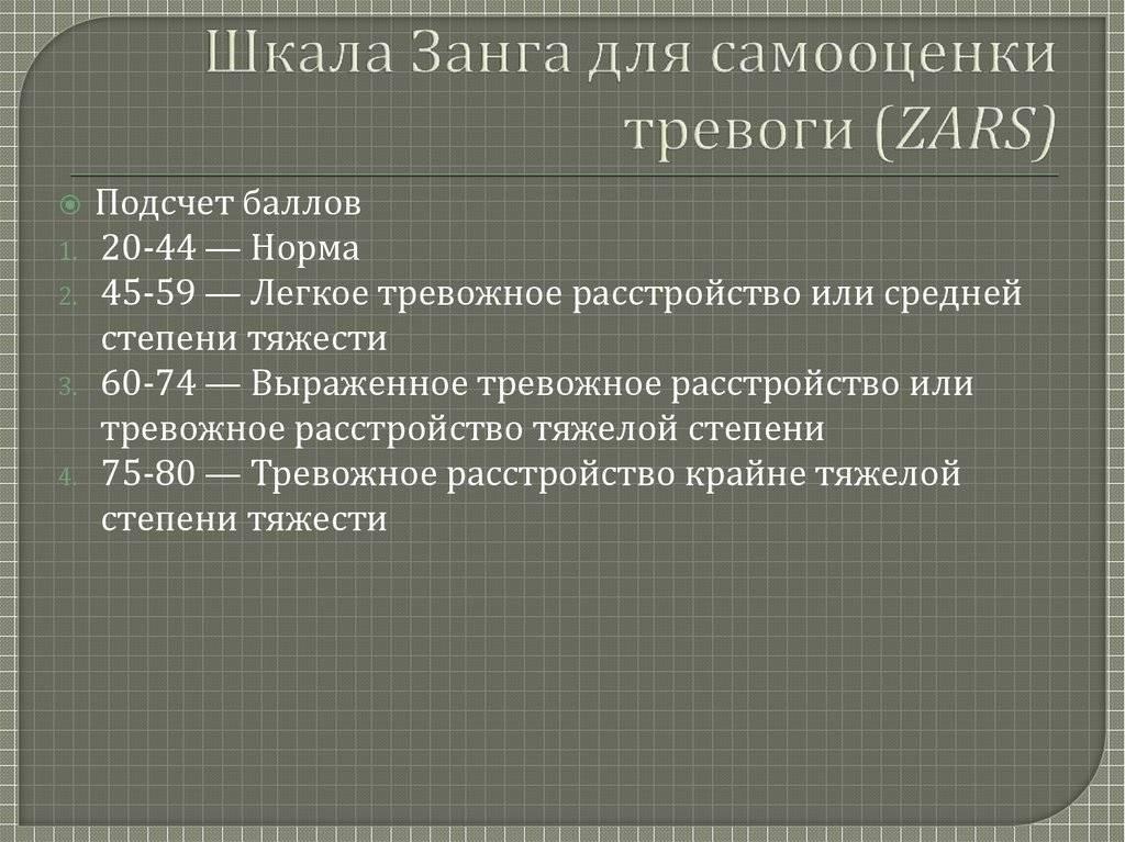 Шкала занга для самооценки тревоги — википедия переиздание // wiki 2