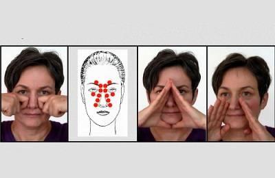 Массаж пазух носа при гайморите в домашних условиях – точки на лице