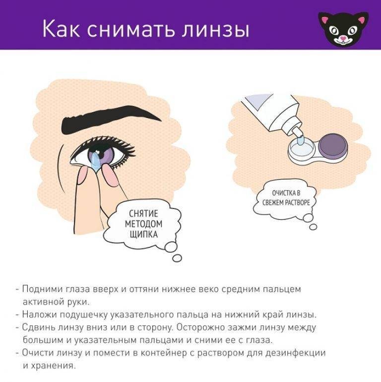 как снять линзы с глаз