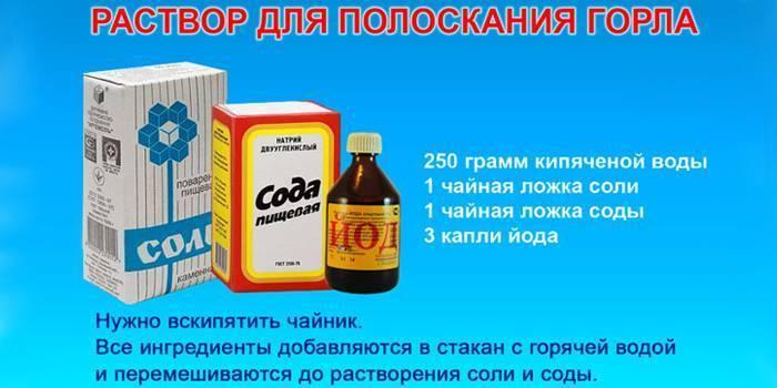 полоскать горло содой и йодом