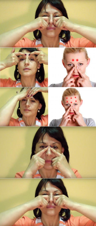 массаж для носа при заложенности
