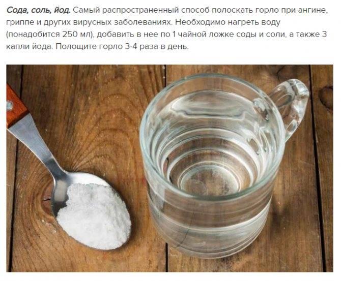 Содовый раствор для полоскания горла при ангине