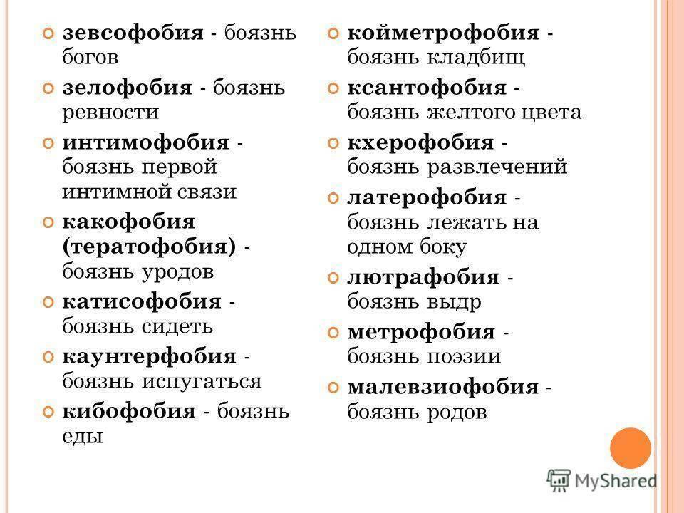 какие фобии бывают у человека список
