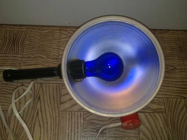 как греть нос синей лампой