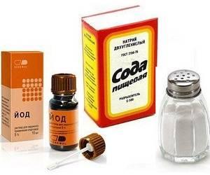 Сода, соль и йод в качестве раствора для полоскания горла