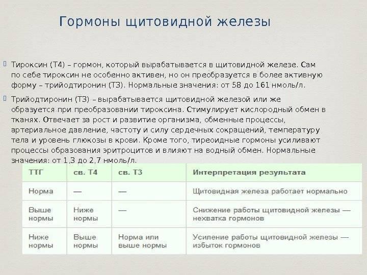 анализ крови на гормоны щитовидной железы норма