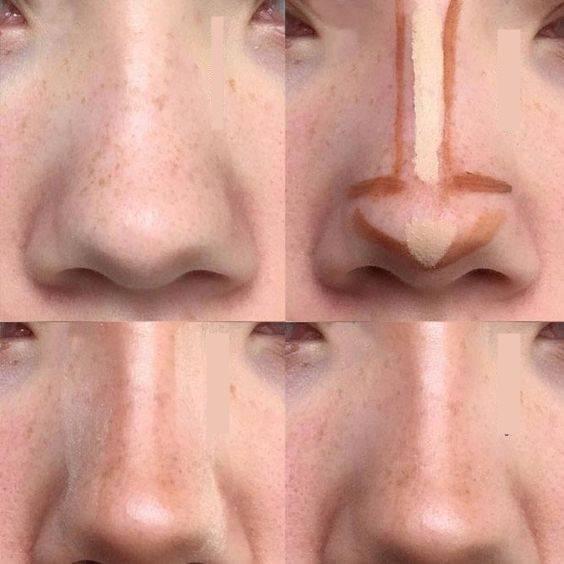 уменьшить нос с помощью макияжа