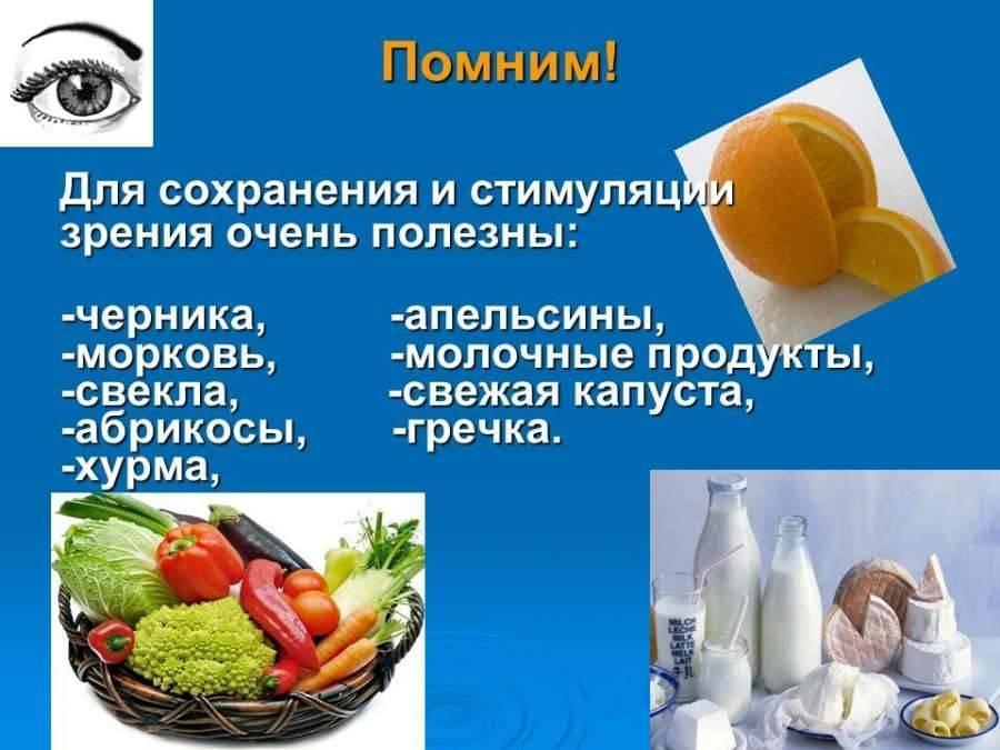 продукты полезные для глаз и зрения