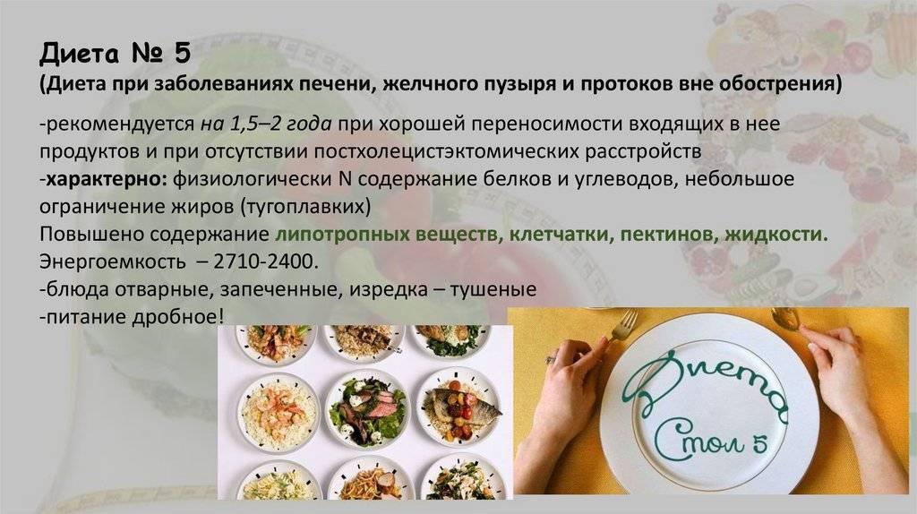 диета при заболевании печени стол 5