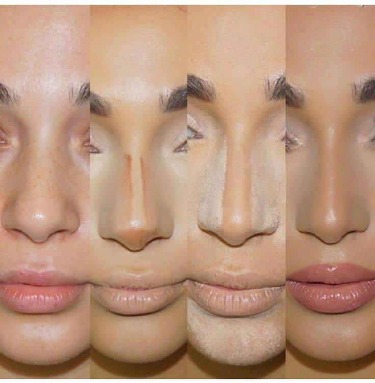 как сделать нос зрительно меньше