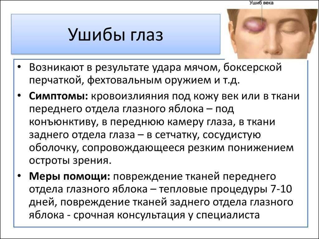 Ушиб глазного яблока: что делать, первая помощь, как лечить в домашних условиях, лечение каплями последствий контузии глаза, удара