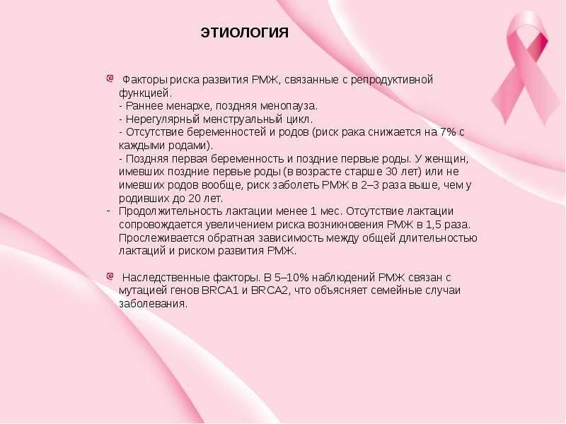 Причины и факторы риска развития рака молочной железы (рака груди)