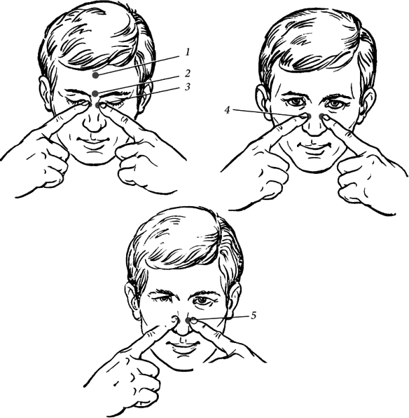 Применение точечного массажа при насморке и заложенности носа