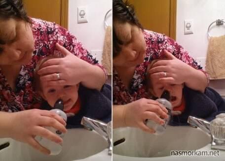 как промыть нос физраствором ребенку