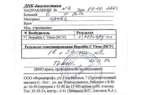 ложноположительный результат на гепатит с