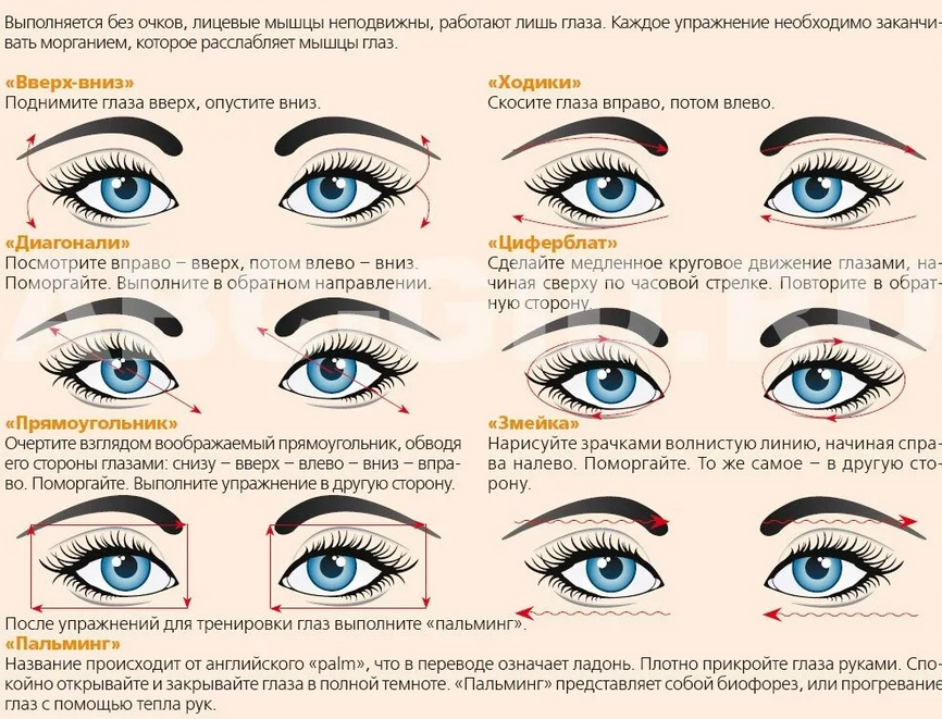Как выполняют упражнения для глаз при глаукоме?