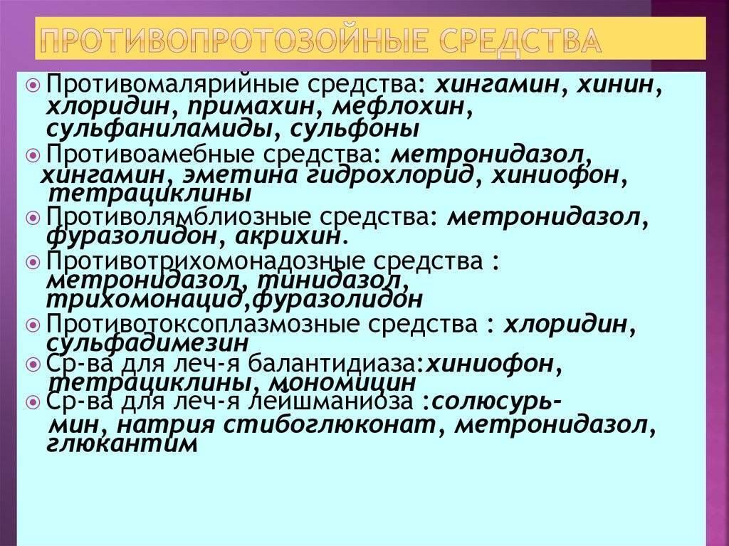 противопротозойные средства классификация