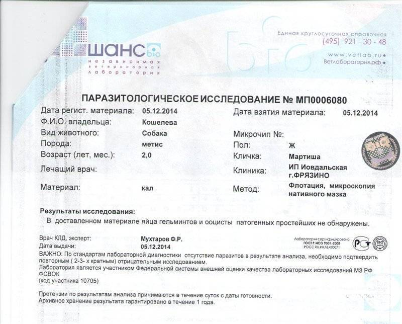 Анализ крови на паразитов в москве - цены