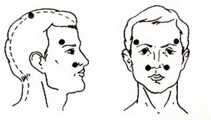 Массаж пазух носа при гайморите и синусите, техника выполнения в картинках