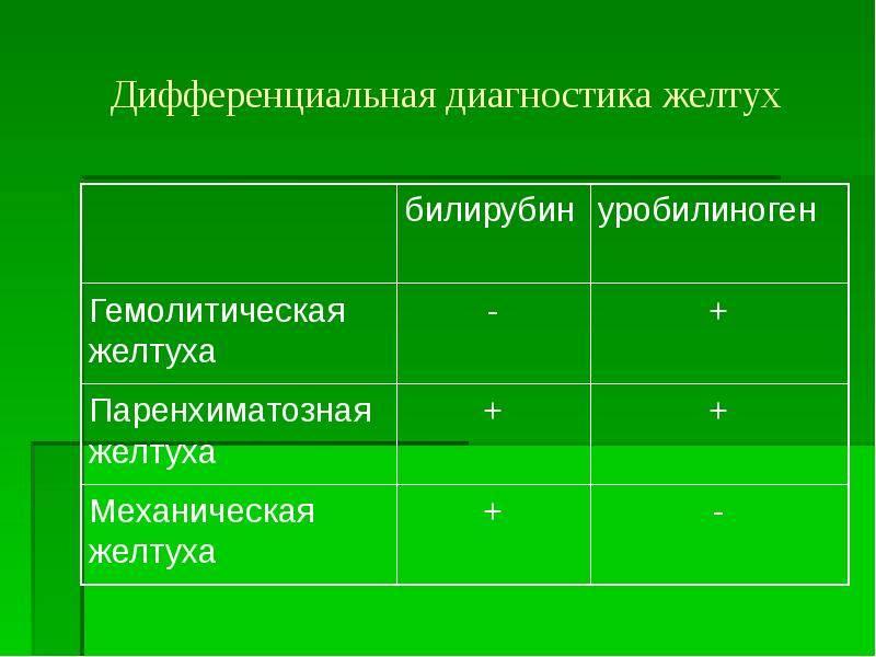 Причины и дифференциальная диагностика паренхиматозной желтухи