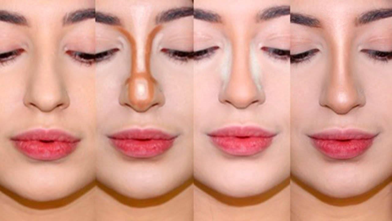 коррекция носа с помощью макияжа