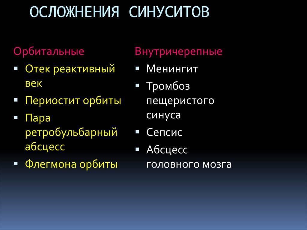 осложнения синуситов