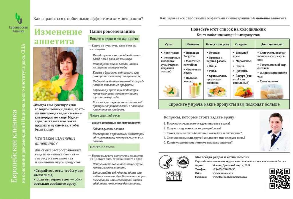 Питание при химиотерапии рака молочной железы